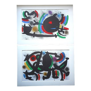 A Pair-Vintage Mid 20th C. Ltd. Ed. Double Page Lithographs-Joan Miro-Original Designs For Sale