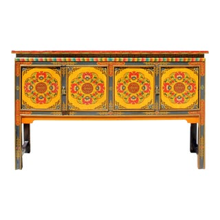 Tibetan Oriental Orange Red Floral Foyer Console Side Table For Sale