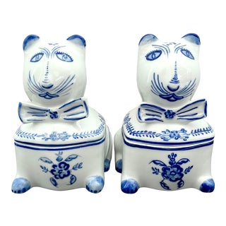 Signed Portuguese Hand Painted Blue and White Porcelain Cat Jars - a Pair For Sale