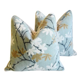 """Spring Blossom Velvet Feather/Down Pillows 22"""" Square - Pair For Sale"""