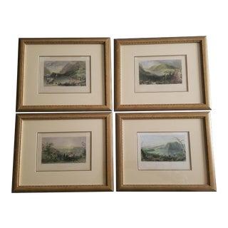 Hand Colored Historic Hudson River Framed Prints - Set of 4