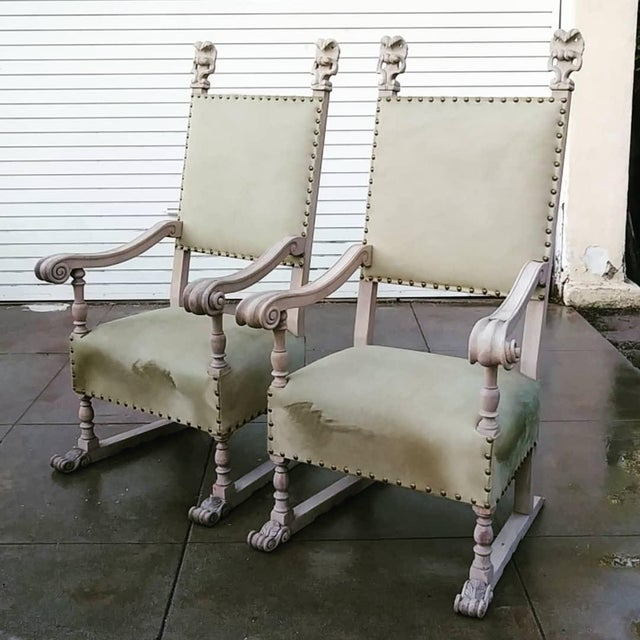 1920s Vintage Bleach Wood and Horse Skin Antique Chairs - a Pair For Sale - Image 12 of 12