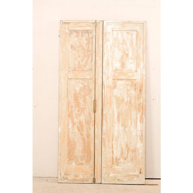 Pair of 19th Century Painted Wood French Doors With Nice Recessed Panels For Sale - Image 4 of 10