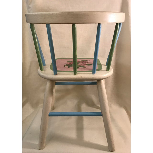Painted Child's Spindle Chair For Sale - Image 5 of 9