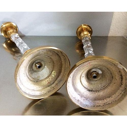 Mid 20th Century Vintage Hollywood Regency Tall Brass and Lucite Candlestick Holders - a Pair For Sale - Image 5 of 6