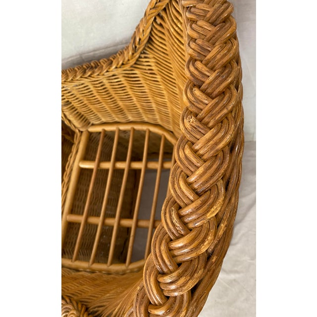 Vintage Woven Wicker Chairs With Braided Trim - a Pair For Sale In Tampa - Image 6 of 13