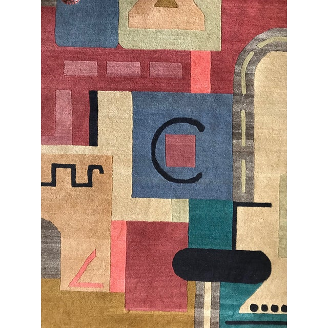Abstract Vibrant Geometric Cut-Pile Wool Rug, C.1970 For Sale - Image 3 of 7