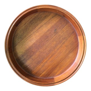 Mid Century Modern Dansk Round Teak Serving Tray For Sale