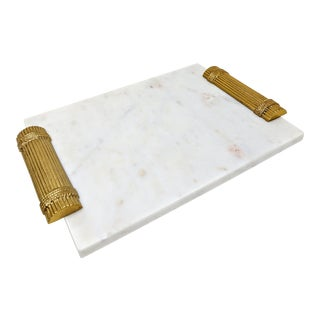 White Marble Tray With Gold Handles For Sale
