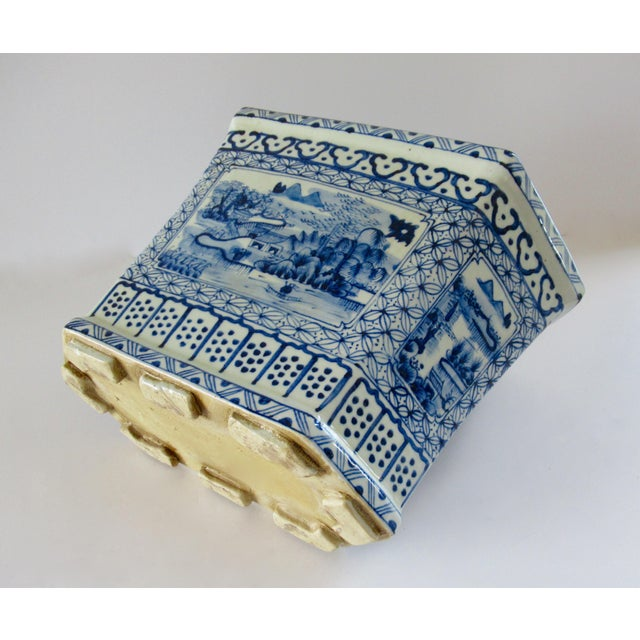 Chinoiserie Blue & White Hexagonal Jardiniere For Sale In West Palm - Image 6 of 13