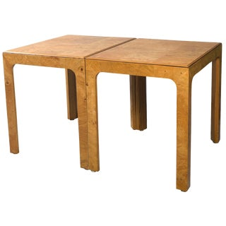 1980's Vintage Henredon Burled Wood Side Tables- A Pair For Sale
