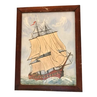 French Clipper Ship Painting