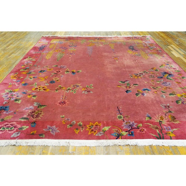 """Antique Chinese Art Deco rug with pink color and 8'10"""" x 11'4"""" size."""