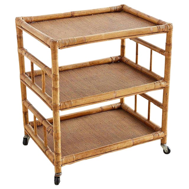 Bamboo and Raffia Rolling Three-Tier Serving Cart For Sale