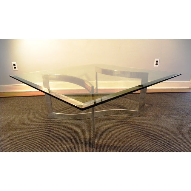 Milo Baughman Style Glass and Chrome Table - Image 7 of 9