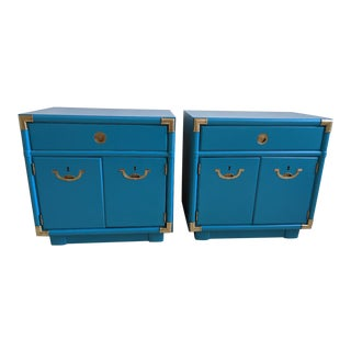 1970's Drexel Accolade Campaign Nightstands-A Pair For Sale