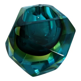 Murano Faceted Mandruzzato Sommerso Flavio Poli Glass Block Bowl For Sale