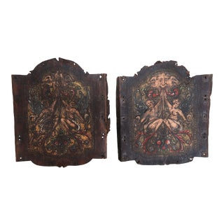 Pair of 19th C. Spanish Leather Panels