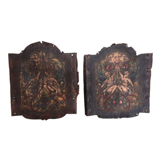 Pair of 19th C. Spanish Leather Panels For Sale