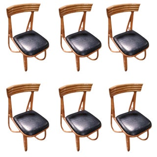Restored Loop Leg Rattan Dining Side Chair- Set of 6 For Sale