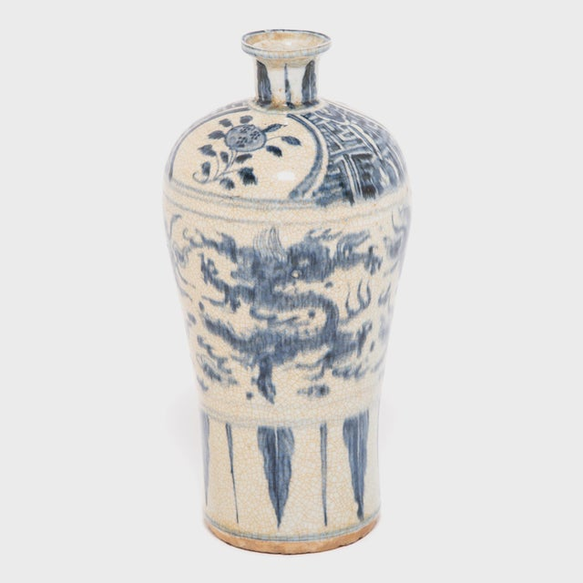 Ceramic Chinese Crackled Blue and White Vase For Sale - Image 7 of 7