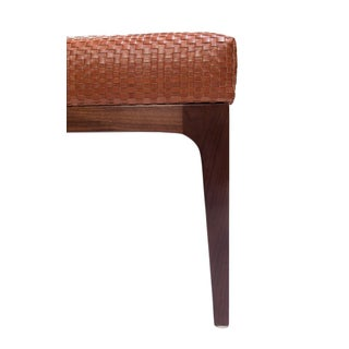 Mid-Century Modern Style Raphael Walnut Frame & Basket Weave Leather Bench Preview