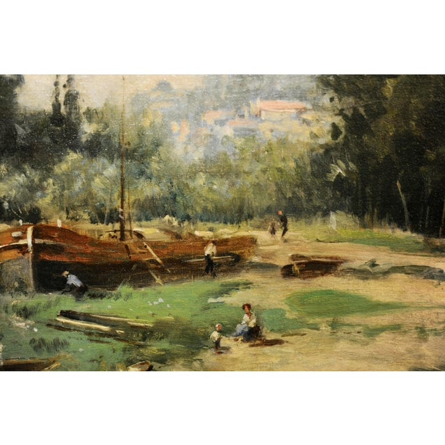 Maurice Levis -Picturesque French River Scene -19th Century Oil Painting For Sale In Los Angeles - Image 6 of 10