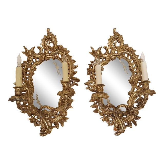 Antique Louis XVI Etched Gold Gilt-Bronze Mirrored Candelabra Wall Sconces - a Pair For Sale
