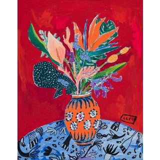 Tropical Wildflower Bouquet on Red Floral Still Life After Matisse For Sale