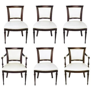 Set of Six 1940s Louis XVI Style Cherry and White Leather Dining Chairs For Sale