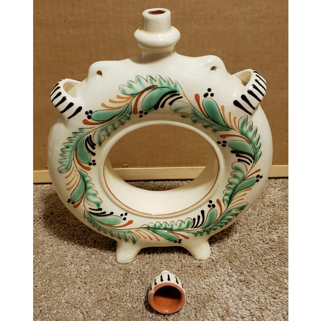 1940s Circa 1940 Hungarian Glazed Redware Pottery Round Ring Water Jug For Sale - Image 5 of 7