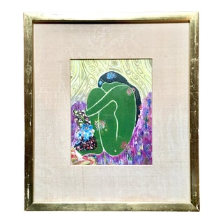 Late 20th Century Vintage Green Nude Framed Painting For Sale