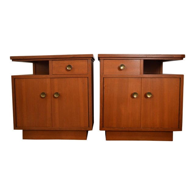 Mid-Century Red Oak Nightstands - A Pair - Image 1 of 11