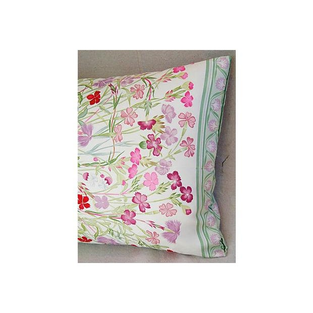 Silk Niki Goulandris Hermes French Floral Silk Pillow For Sale - Image 7 of 8
