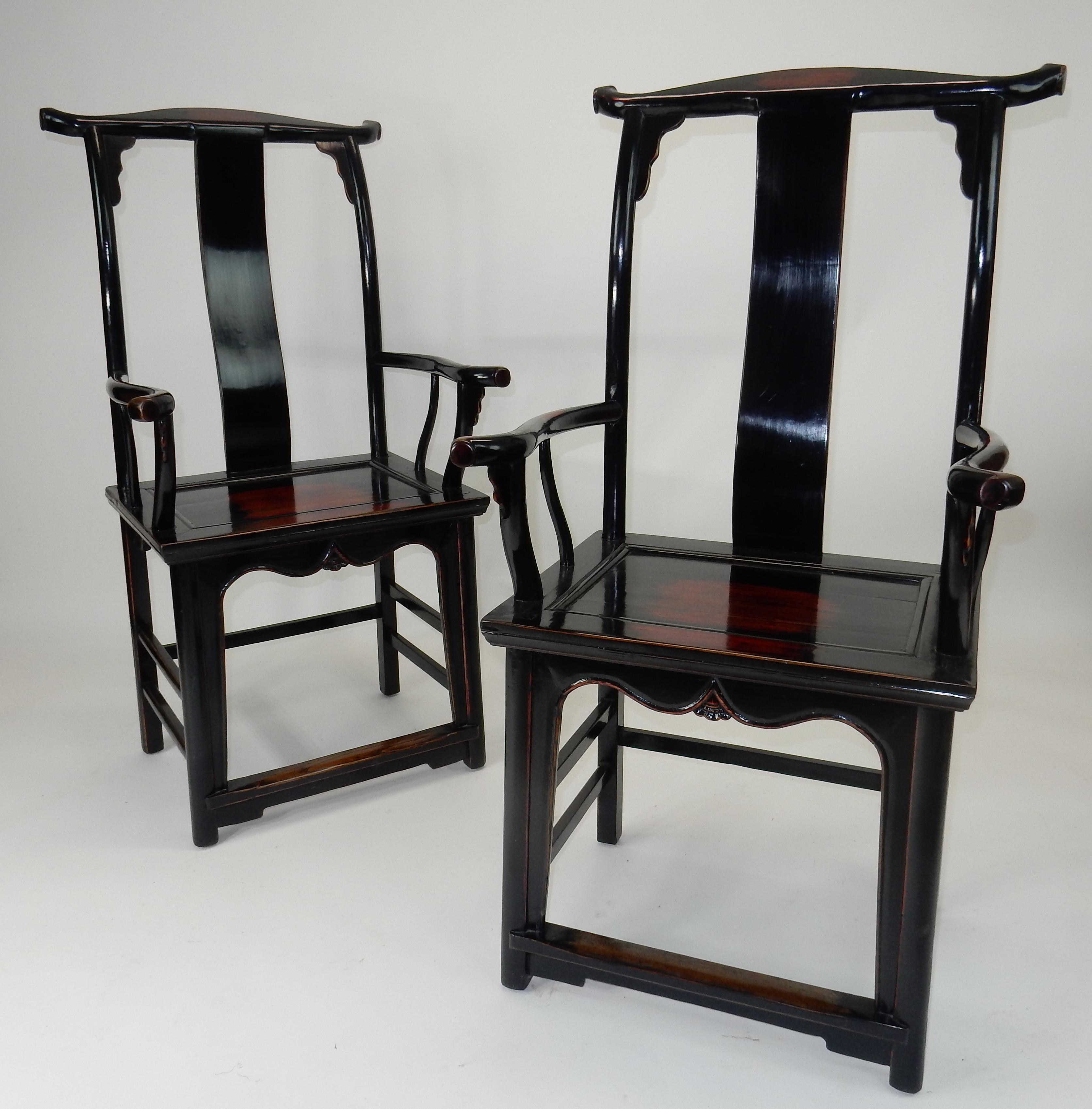 Incroyable C. 1860 Antique Chinese Black Lacquer Yoke Back Chairs   A Pair   Image 12