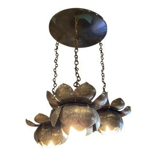 Mid-Century Brass Lotus Pendant Chandelier by Feldman Lighting Co. For Sale
