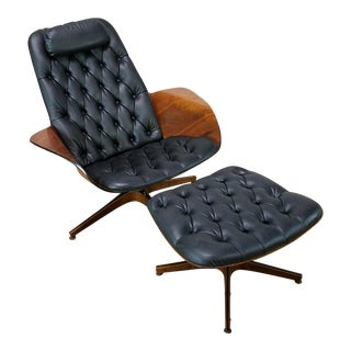 Mid-Century George Mulhauser Black Leather Lounge Chair and Ottoman
