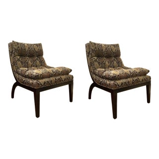 Currey and Co. Modern Python Pattern Alston Slipper Chairs Pair For Sale