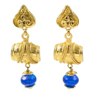 Mercedes Robirosa Paris Oversized Dangling Gilt Metal Blue Resin Clip Earrings For Sale