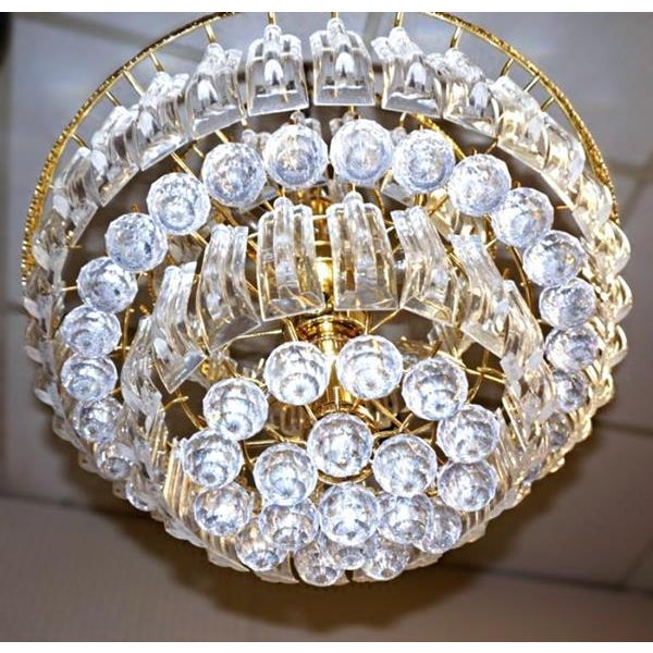 6-Tier Brass Lucite Chandelier Hanging Ceiling Light Fixture Lamp Shade Modern For Sale In New York - Image 6 of 6