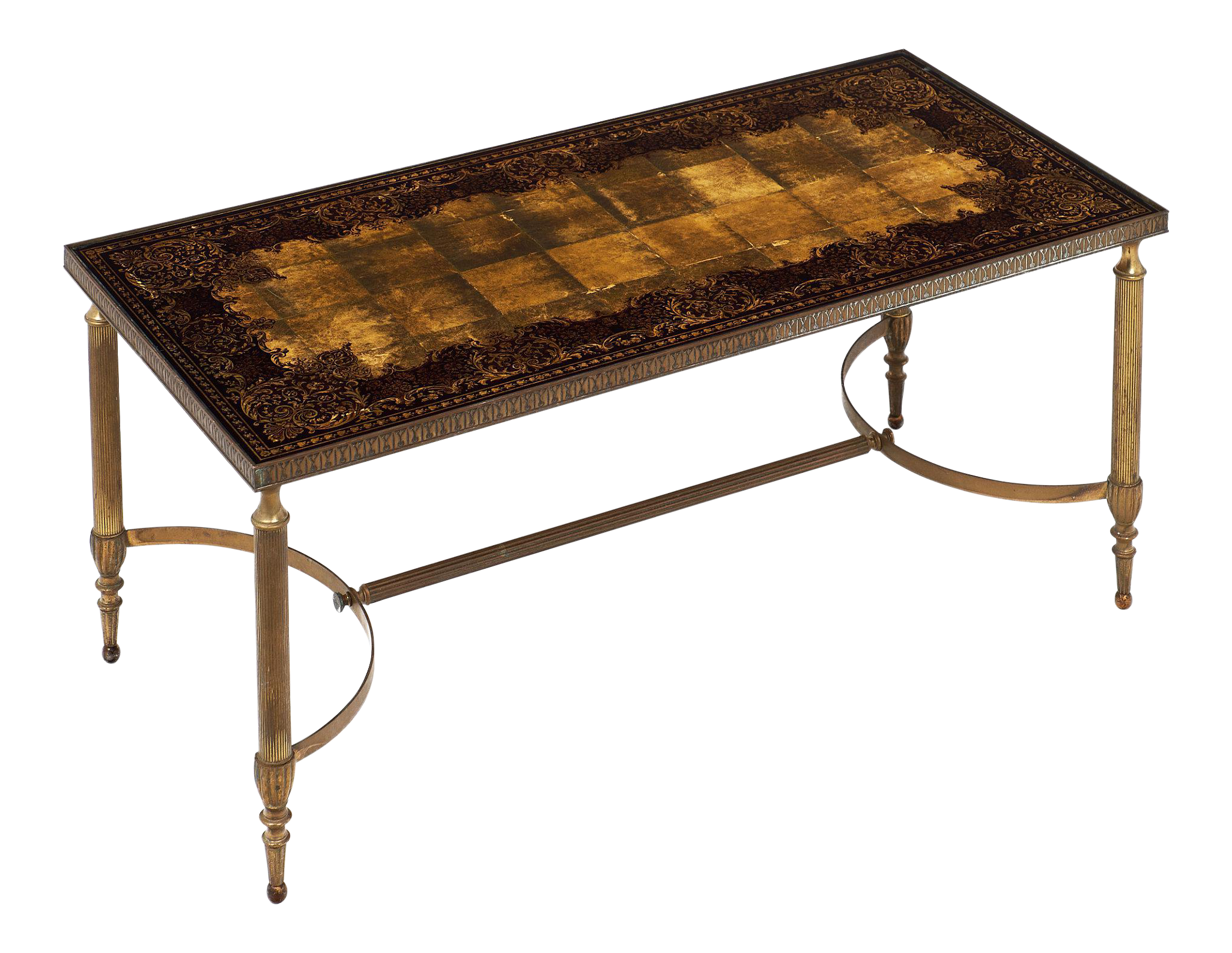 Art Deco Coffee Table With Eglomised Glass Top   Image 1 Of 10