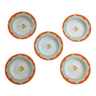 Set of 5 Lynn Chase Monkey Business Soup Bowls with Banana For Sale