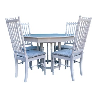 1960's Restored Thomasville Faux Bamboo Dining Set - 5 Pieces For Sale