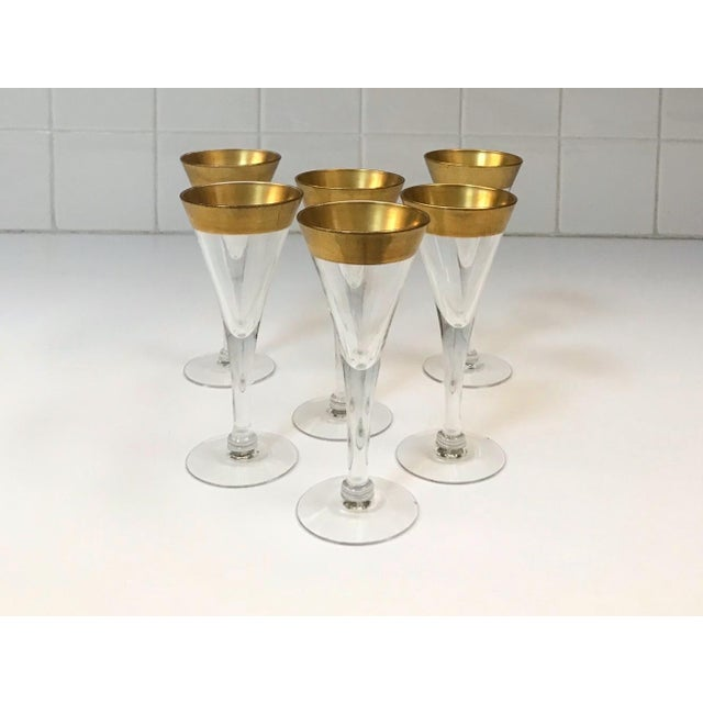 1960s Set of Six Crystal Gold Rim Cordial Glasses by Dorothy Thorpe For Sale - Image 5 of 13