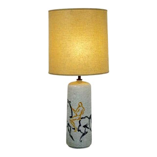 Mid Century Modern Bitossi Ceramic Table Lamp Italian Orig Brass Finial 1970s For Sale