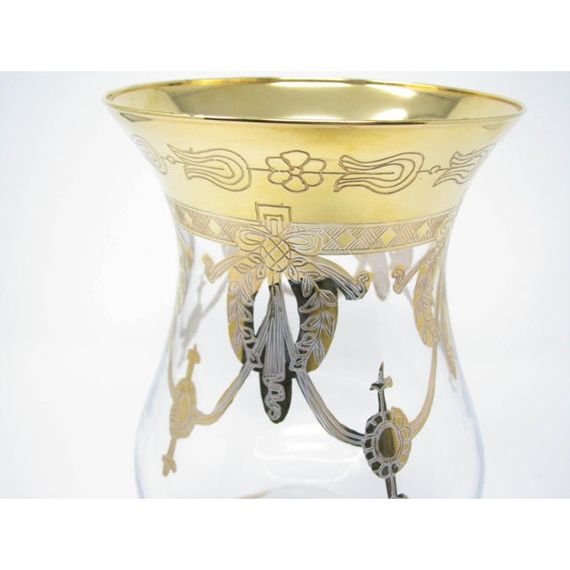 Vintage Same Cristallerie Italy Glass and 24k Gold Encrusted Large Footed Vase For Sale - Image 10 of 13