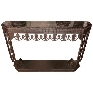 Art Deco Grand Iron and Marble Console, Style of Edgar Brandt For Sale