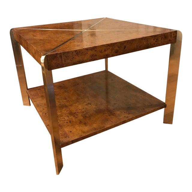 Burl Coffee Table Legs: Vintage Brass & Burl Wood Coffee Table