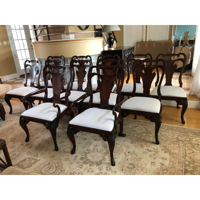 Set of 12 rich mahogany Ralph Lauren for Henredon Beekman dining chairs that includes 2 arm chairs and 10 side chairs....