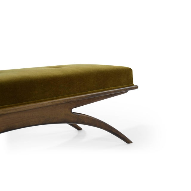 Mohair Convex Bench in Olive Mohair For Sale - Image 7 of 10